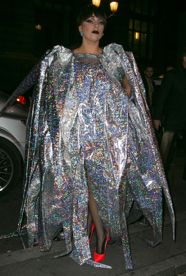 Lady Gaga wears a holographic silver outfit while out in Paris, France - 24 November 2014