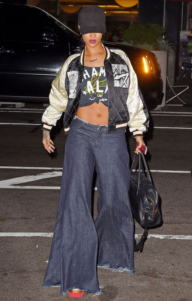 Rihanna wears a huge pair of jeans while out in New York, America - 24 November 2014
