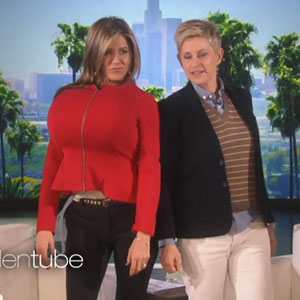 Jennifer Aniston gets joke inflatable breasts during appearance on Ellen DeGeneres Show, November 2014
