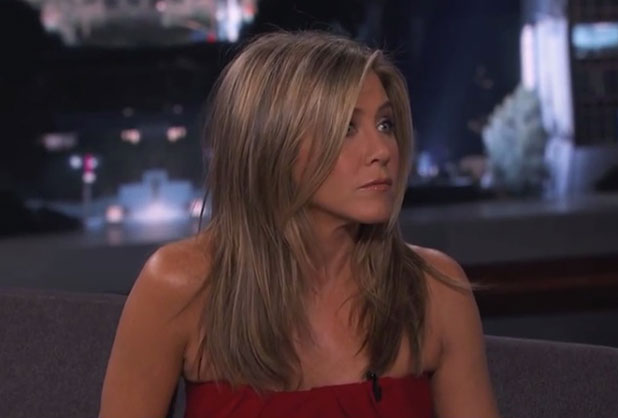 Jennifer Aniston appears on Jimmy Kimmel Live, 24 November 2014