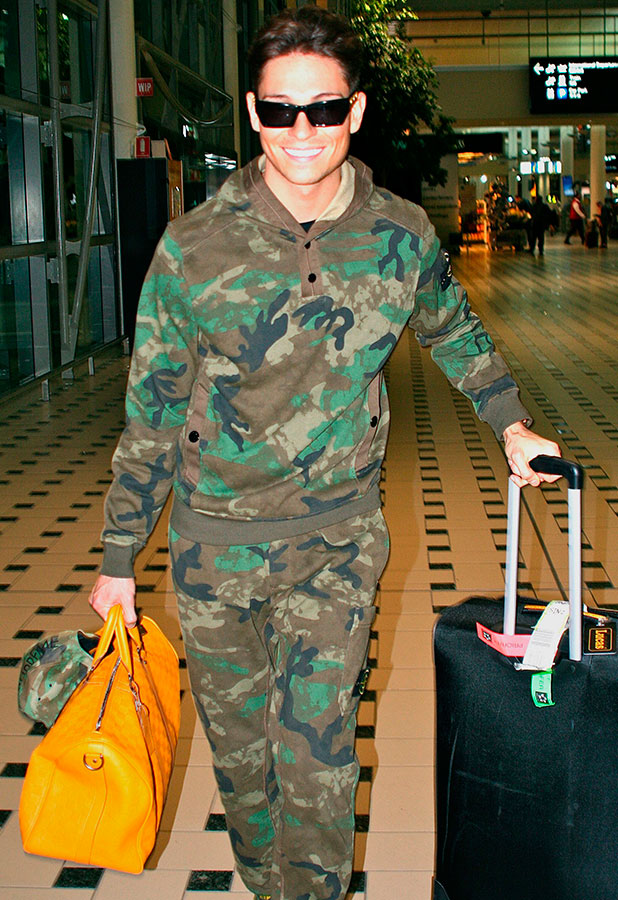 Joey Essex arrives in Brisbane to appear on I'm A Celebrity spinoff show, 22 November 2014