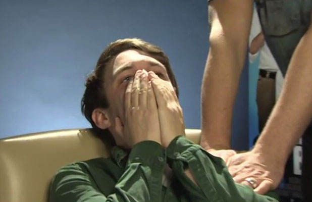 Jennifer Aniston pranks Chris Stark for BBC Radio 1, with Scott Mills organising it, 25 November 2014