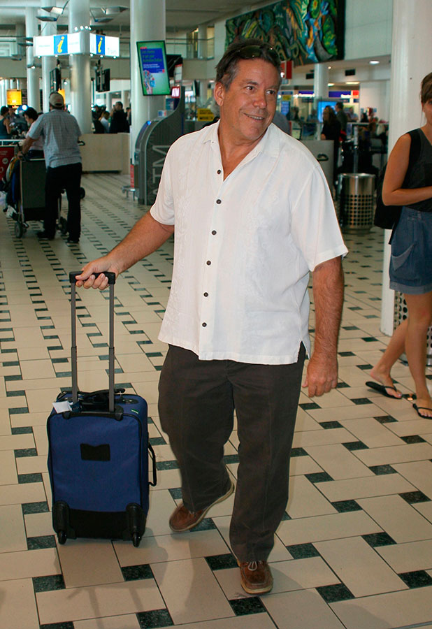 Eric Wilkinson landed at Brisbane Airport on Sunday to support daughter Kendra in I'm A Celebrity, 23 November 2014