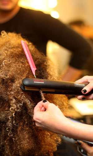 Fleur East getting her hair done at X Factor in November 2014
