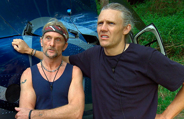Foggy and Jimmy Bullard at the helicopter before facing next Bush Tucker Challenge. 26 Nov 2014