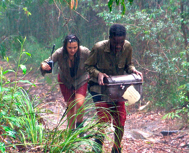 Celebrity Treasure Hunt - Goblet Challenge - Tinchy Stryder and Nadia Forde Head for Falls Whilst Celebs Remaining at Snake Rock Camp Fill Tube with Water to Obtain Next Set of Directions 26 Nov 2014