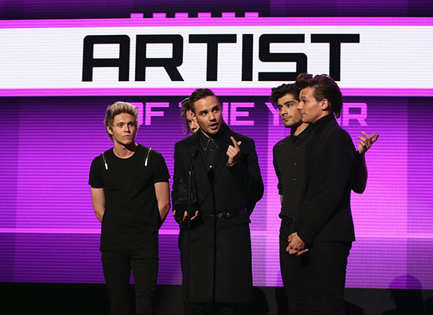Liam Payne, Zayn Malik, Louis Tomlinson, Niall Horan and Harry Styles of One Direction attend the 2014 American Music Awards at Nokia Theatre L.A. Live on November 23, 2014 in Los Angeles, California.