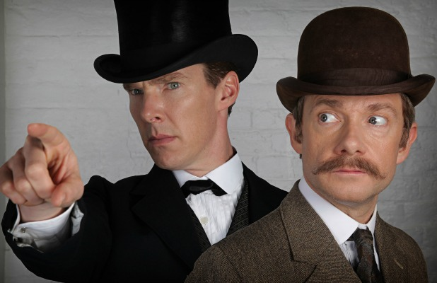 Dr John Watson (MARTIN FREEMAN), Sherlock Holmes (BENEDICT CUMBERBATCH) #221back #sherlock #notkidding. Sherlock and John as they'll appear in the Special. As Tweeted by executive producer of Sherlock, Sue Vertue