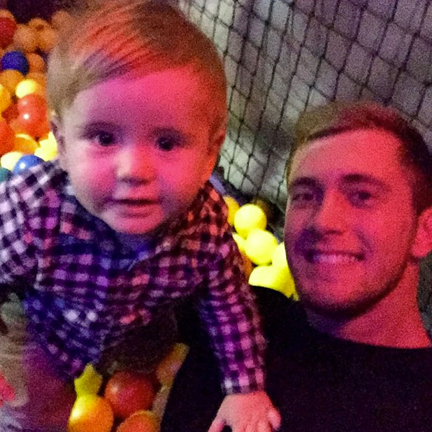 Dan Osborne plays with son Teddy amid speculation of trouble in relationship with Jacqueline Jossa, 27 November 2014