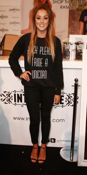 Charlotte Crosby wears slogan jumper at Clothes Show Live, 6 Dec 2014