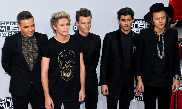 Recording artists Liam Payne, Niall Horan, Louis Tomlinson, Zayn Malik and Harry Styles of One Direction arrive for the 42nd Annual American Music Awards held at Nokia Theatre L.A. Live on November 23, 2014 in Los Angeles, California.