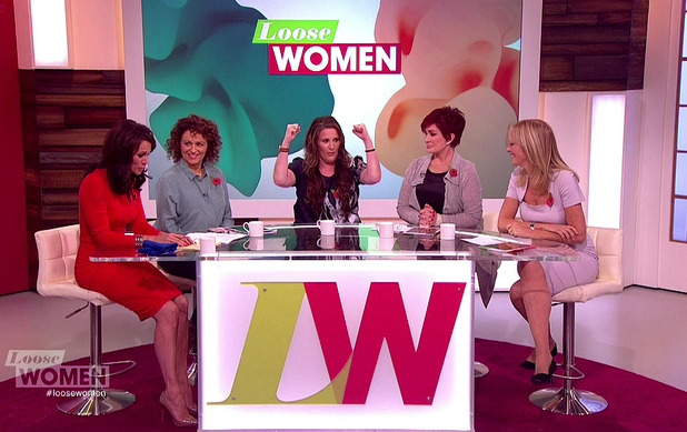 Sam Bailey promoting her autobiography 'Sam Bailey: Daring To Dream', speaking to Andrea McLean, Nadia Sawalha, Sharon Osbourne and Jane Moore on 'Loose Women'. Shown on ITV1 HD. 7/11/2014.