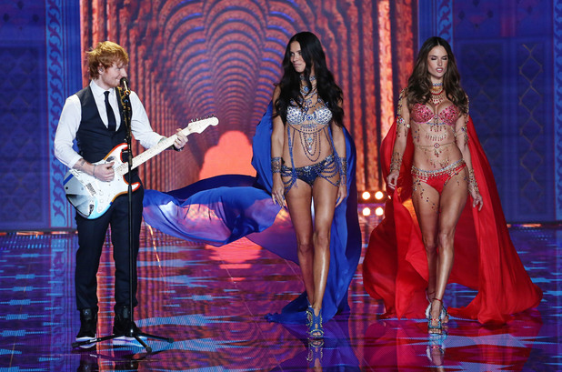 Ed Sheeran performs at the Victoria's Secret fashion show, Earl's Court, London 2 December