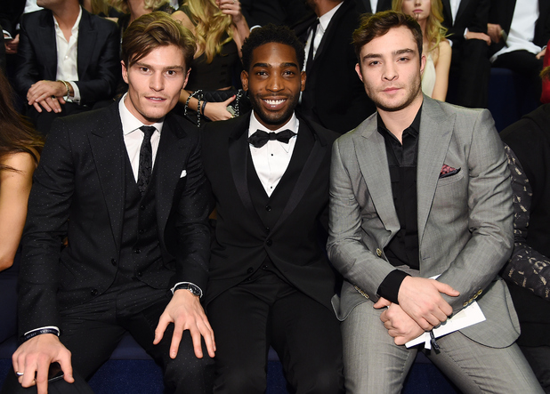 Oliver Cheshire, Tinie Tempah and Ed Westwick attends the 2014 Victoria's Secret Fashion Show - Show Front Row & Pre-Cocktail Reception at Earl's Court exhibition centre on December 2, 2014 in London, England.