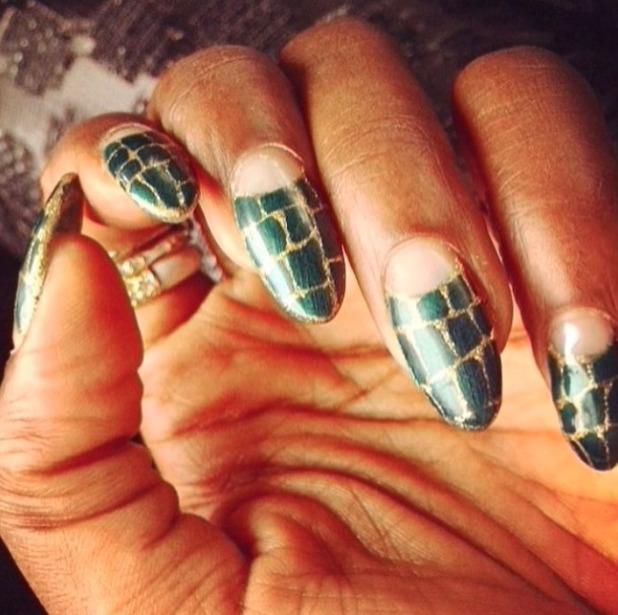 Estelle's green crocodile nails, 1 December 2014
