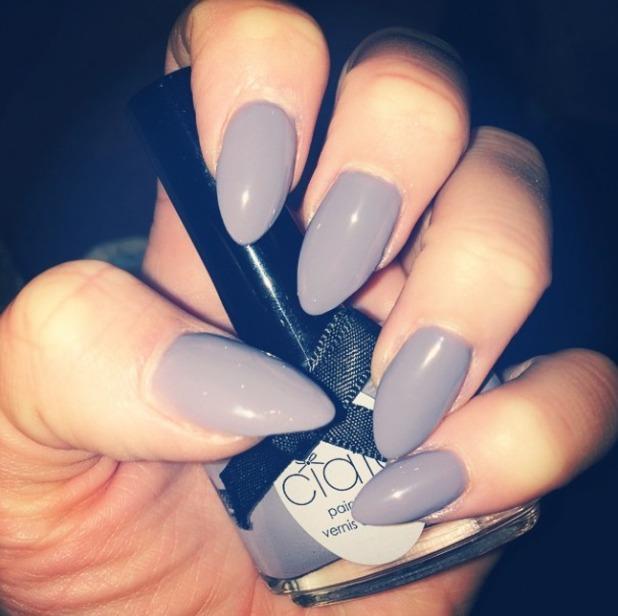 Lydia Bright shows off lilac Ciate manicure, 25 November 2014
