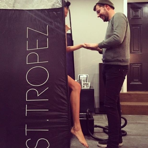 Millie Mackintosh gets a spray tan - 2 December 2014
