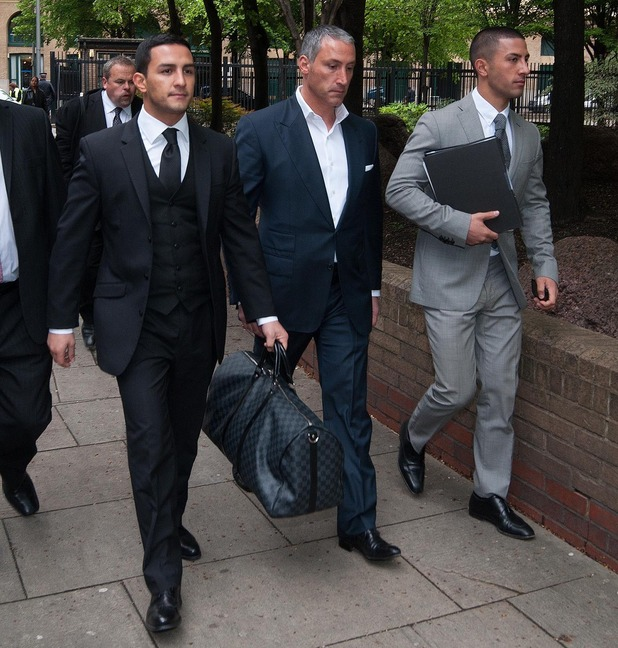 Brothers Costas and George Panayiotou arrive with their father Andreas Panayiotou at Southwark Crown Court before receiving suspended sentences for affray - 14 May 2014