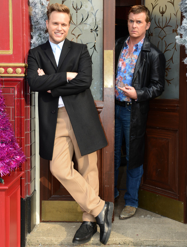 Olly Murs films with Shane Ritchie on EastEnders set for A Night In With Olly Murs - 1 Dec 2014