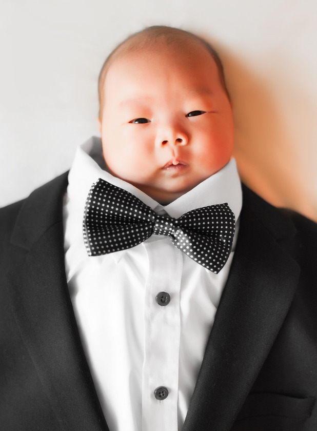 Lai Ka in his dad's wedding suit