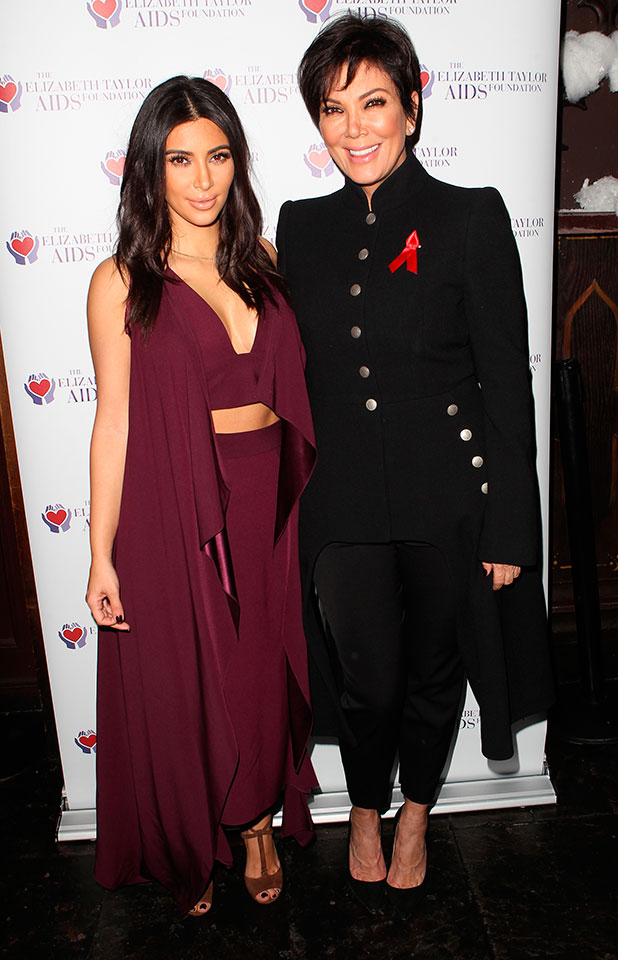 "Kris Jenner and Kim Kardashian, World AIDS Day, The Elizabeth Taylor AIDS‎ Foundation (ETAF) and The Abbey Launch the ""Elizabeth Taylor Cocktail"", 1 December 2014"