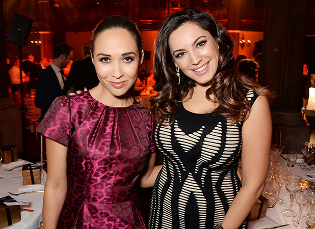 Kelly Brook and Myleene Klass attend the Cosmopolitan Ultimate Women of the Year Awards at One Mayfair on December 3, 2014 in London, England.