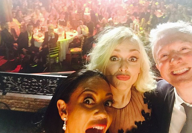 Mel B takes selfie with Louis Walsh and Fearne Cotton after winning Cosmopolitan's Ultimate Woman on TV Award, 2014