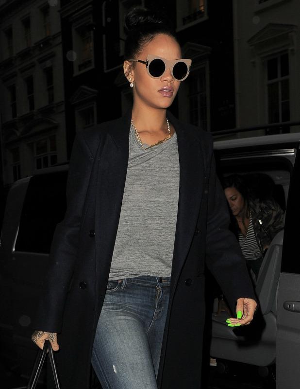 Rihanna arrives back at her hotel after lunch in Hakkasan restaurant in Mayfair. London. UK, 2 December 2014