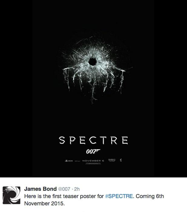 James Bond 007 new poster for Spectre, released November 2014