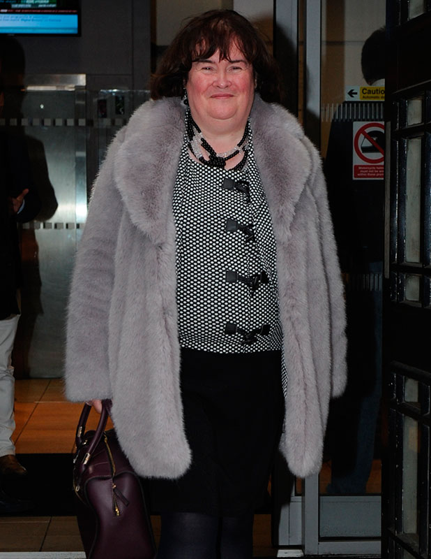 Susan Boyle seen out in London leaving BBC Radio Two, November 2014