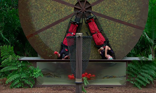 Vicki Michelle and Michael Buerk take on the 'Deadly Dunker' Bushtucker Trial and win Seven stars on 'I'm A Celebrity... Get Me Out Of Here!', Shown on ITV1 HD, 2 December 2014