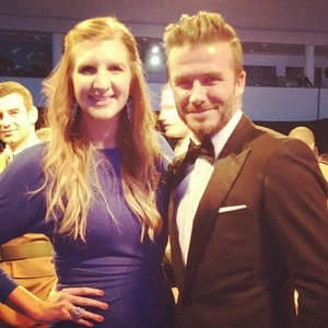 Pregnant Rebecca Adlington meets David Beckham at The Sun Military Awards - 10 December 2014.