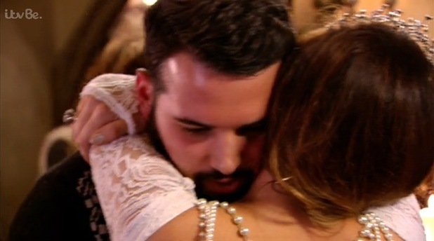 Ricky Rayment and Jessica Wright hug during The Only Way Is Essexmas, ITVBe 10 December