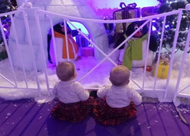 5ive's Scott Robinson celebrates twins Bobbi and Kayde's first Christmas - 8 Dec 2014