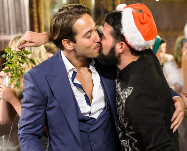 Ricky Rayment kisses James 'Lockie' Lock. 'The Only Way is Essex' cast filming at Lympne Castle, Kent, Britain - 30 Nov 2014