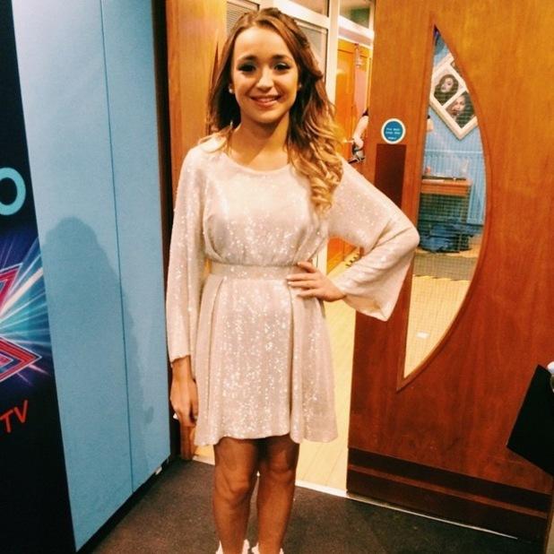 Lauren Platt prepares to perform on The X Factor - 6 December 2014