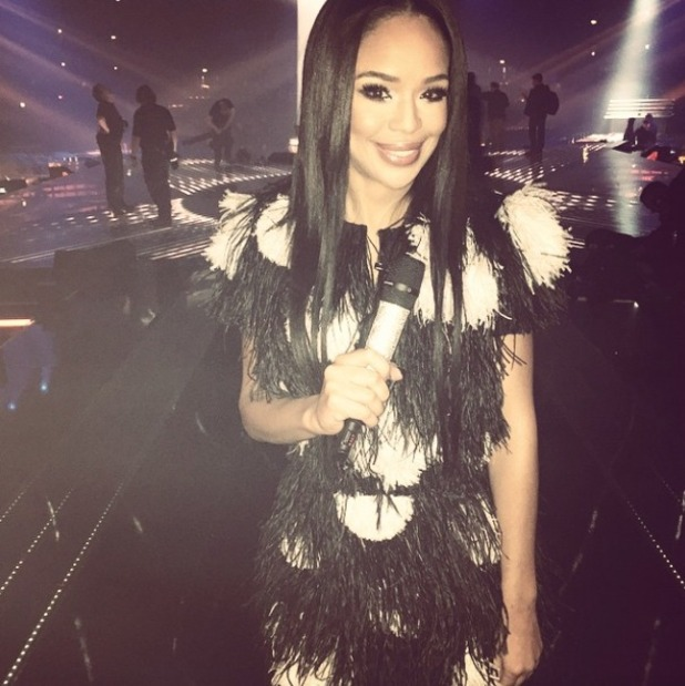 Sarah-Jane Crawford shows off Matthew Williamson feathered black and white dress, X Factor Live Final show, 13 December 2014
