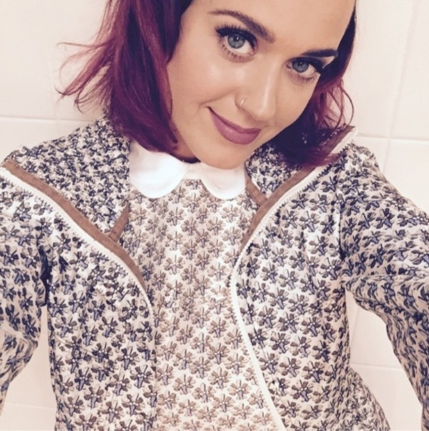 Katy Perry shows off her new purple hair colour in an Instagram picture - 8 December 2014