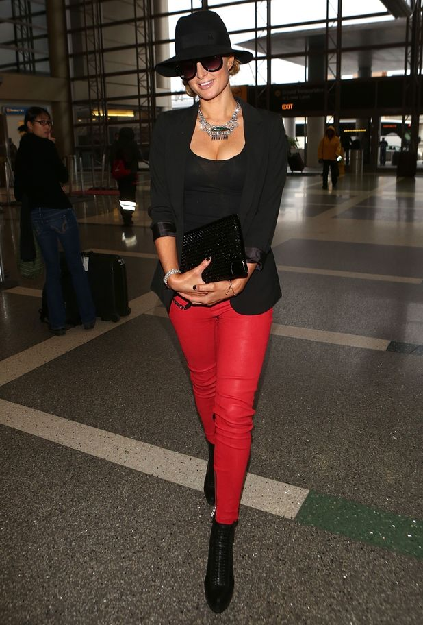 Paris Hilton arrives at Los Angeles International Airport in America - 11 December 2014