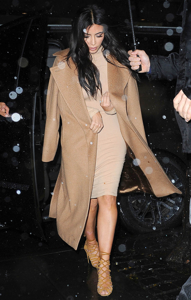 Kim Kardashian West wears a $19 camel dress while out in New York, America - 9 December 2014