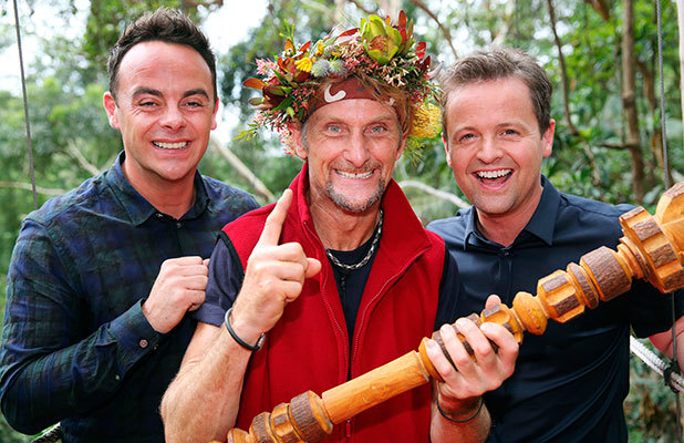 Carl Fogarty with Ant and Dec after winning I'm A Celebrity. 8 Dec 2014