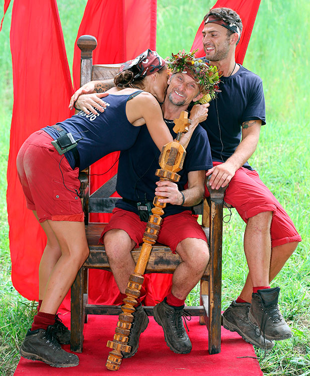 Melanie Sykes, Carl Fogarty, Jake Quickenden - the final I'm A Celebrity 2014 picture. 8 Dec 2014