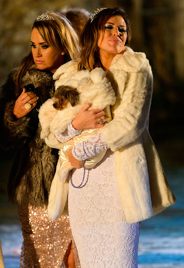 'The Only Way is Essex' cast filming at Lympne Castle, Kent, Britain - 30 Nov 2014 Jessica Wright and puppy Bella 30 Nov 2014