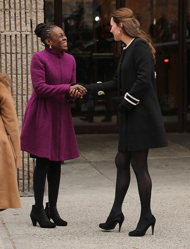 Catherine, Duchess of Cambridge (R) and New York City Mayor Bill de Blasio's wife Chirlane McCray (L) meet at Northside Center for Child Development on December 8, 2014 in New York City.