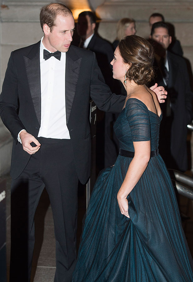 Prince William, Duke of Cambridge and Catherine, Duchess of Cambridge leave St. Andrews 600th Anniversary Dinner at Metropolitan Museum of Art on December 9, 2014 in New York City.