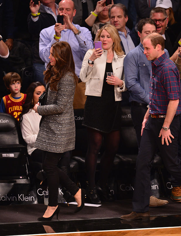 Catherine Duchess of Cambridge and Prince William at NBA game in New York 8 Dec 2014