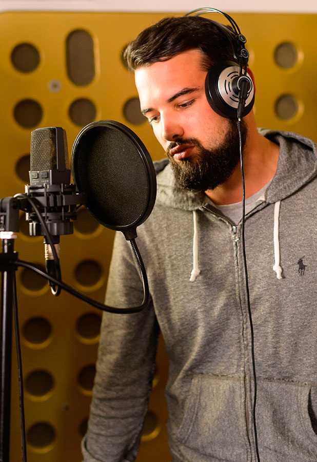 Ricky Rayment lays down vocals for his new single, 'The Only Way is Essex' cast filming, 'All Star' Recording Studio, Chelmsford, Britain - 25 Nov 2014