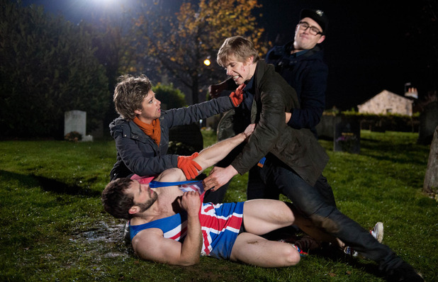 Emmerdale, Andy and Robert fight, Wed 24 Dec