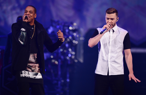 Jay Z joins Justin Timberlake on stage, Barclay's Centre, Brooklyn 14 December
