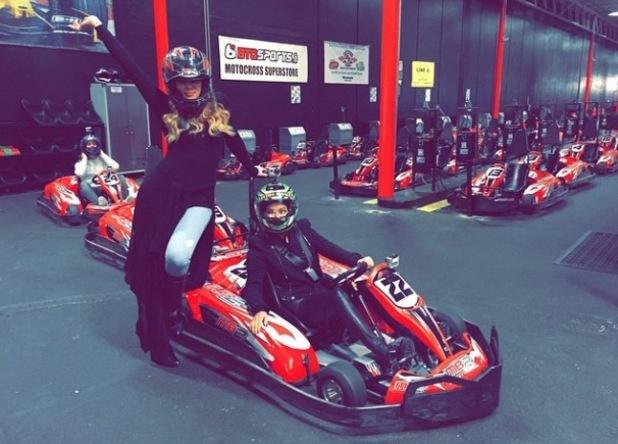 Khloe Kardashian and mum Kris Jenner go go-karting in Los Angeles - 18 Dec 2014